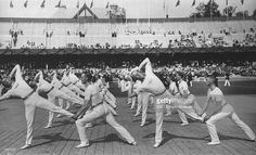 The Swedish Team performing a team exercise during the Swedish System Gymnastics event at the 1912 Olympic Games in Stockholm, Sweden. Sweden won the gold medal in this event. \ Mandatory Credit: IOC Olympic Museum /Allsport