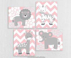 TOILE rose Nursery gris décor  bébé fille éléphant girafe