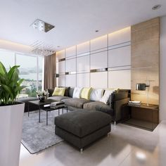 Apartments:Modern Apartment Sofa For Minimalist Look Classy Apartment Living Room Design With White Ceiling Lighting And Dark Grey Leather Sofa And Square Black Coffee Table Also Indoor Green Plant Idea
