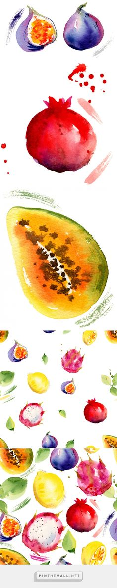 Seamless pattern with tropical fruits. on Behance - created via http://pinthemall.net