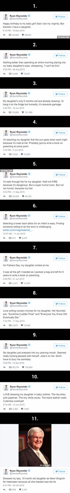 Ryan Reynolds' Hilariously Honest Tweets About His Daughter Are Even Better Than Deadpool