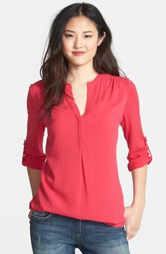 Pleione Mixed Media Tunic (Regular & Petite) available at #Nordstrom - love the flowy fabric and bright colors