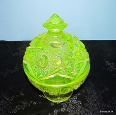 Vaseline glass covered candy dish. #glass #green #vintage
