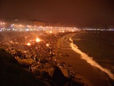 """Night of San Juan"" -- La Noche de San Juan is celebrated every year around June 21 (in Spain the night of the 23rd) due to the start of the summer solstice. Light fires in several countries remain all night, while those around it celebrate summer in differents ways: Drinking alcohol, being naked on the beach at night or making sacrifices and rituals for various reasons."