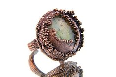 Copper Ring - Murano Glass Ring - Electroformed Ring - Handmade Ring -  Adjustable Ring - Unique Ring  - Copper Jewelry - Eco Jewelry