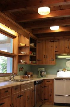 8 Astounding Tips: Small Kitchen Remodel Contemporary kitchen remodel diy joanna gaines.Kitchen Remodel Wood Subway Tiles small kitchen remodel with laundry.Very Small Kitchen Remodel. Knotty Pine Cabinets, Knotty Pine Kitchen, Pine Kitchen Cabinets, Knotty Pine Walls, Outdoor Kitchen Countertops, Painting Kitchen Cabinets, Kitchen Paint, Diy Kitchen, White Cabinets