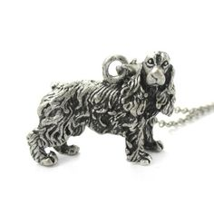 3D Realistic English Cocker Spaniel Animal Dog Breed Charm Necklace in Silver $12.50 #spaniel #dogs #puppies #charms #necklaces #cute