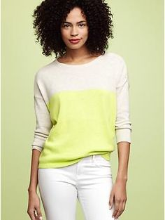 color block button shoulder sweater