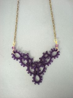 Deep Purple Victorian Tatted Lace Pendant Necklace. $21.00, via Etsy.