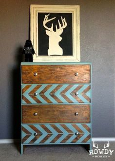 this is a great way to keep the texture and the wood showing but add a pop of color to bring a room together