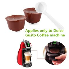 1 Set Reusable Refillable Coffee Capsules, Filter Cups Compatible Pods, Cafeteras Kapseln Box, Use 150 times , Applies to Dolce Gusto Coffee machine