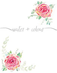 Downloadable Watercolor Rose Border