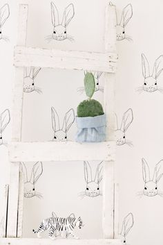 Live Loud Girl has the pleasure to work with wonderful wall paper that is the result of a collaboration between Jimmy Cricket and Pax and Hart. Playroom Wallpaper, Love Wallpaper, Pattern Wallpaper, Nursery Signs, Nursery Decor, Kids Bedroom Accessories, Kids Castle, Pretty Kids, Bunny Art