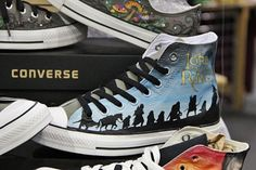 Stylin' Pairs of Pop Culture-Inspired Shoes Lord of the Rings Converse shoes∫ omg want!Lord of the Rings Converse shoes∫ omg want! Converse 2017, Converse Shoes, Shoes Heels, Cheap Converse, Heels Outfits, Yeezy Shoes, Converse Sneakers, Louboutin Shoes, Shoes 2018