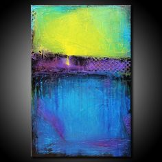 Abstract Painting MADE TO ORDER Textured Urban Modern Original 24x36 Canvas Blue Teal Purple Fine Art by Maria Farias. $260.00, via Etsy.