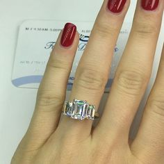 Love the and ❄️on this 3 stone Emerald Cut Diamond Ring represents your past present and future. Please call for more details