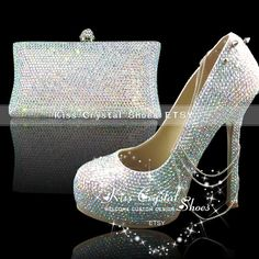 7238f6a57ffdf2 sezy evening shoes silver comfortable silver by KissCrystalShoes. Handmade Crystal  Wedding Shoes   Bag