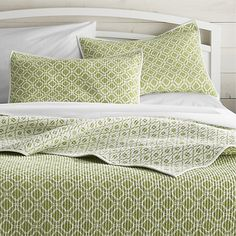 Raj Reversible Green Full/Queen Quilt | Crate and Barrel