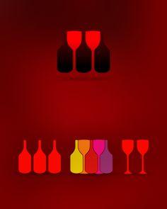 wine, wines, vineyard, wine yard, wine bottle, wine glass, wine bottles, wine glasses, bottles, glasses, symbol, icon, logo design by Alex Tass