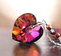 Red Purple Heart Necklace Sterling Silver RARE Swarovski Crystal Heart Plum Ruby Crystal Heart Pendant Necklace