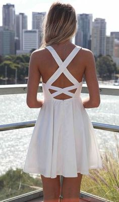 Semi Formal Dresses White Dress with Cross Open Back & Lace Bodice, Dress, open back lace dress, C… City Outfits, Mode Outfits, Cute Fashion, Look Fashion, Lolita Fashion, Fashion 2018, Fashion Fashion, Fashion Shoes, Fashion Trends