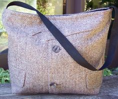 Cute upcycled bag using a man's suit.