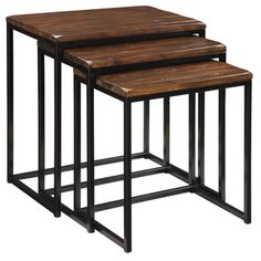 @Overstock.com - Creek Classics Rustic Nested Tables (Set of 3) - Have plenty of table surface with this set of rustic nested tables. Available in a set of three sizes, these wood and iron tables offer a distressed finish and wood-grain details for additional aesthetic value. The legs have a textured black finish.  http://www.overstock.com/Home-Garden/Creek-Classics-Rustic-Nested-Tables-Set-of-3/7377749/product.html?CID=214117 $296.99