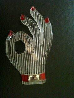 "Vintage 1940s reverse carved and painted Lucite Hand making OK Sign design brooch pin. Measures 2-3/4"" by 1-3/4""."