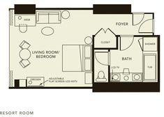 Typical Hotel Room Floor Plan | Click here for the Resort Room floorplan.