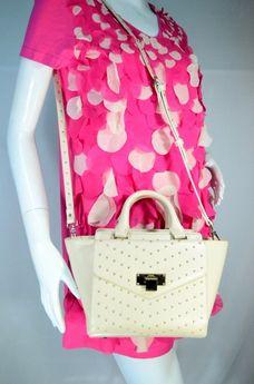 JASPAL กระเป๋าสะพายหนัง PU สีครีม