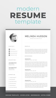 Professional CV Template with Photo One Page Resume Template, Modern Resume Template, Creative Resume Templates, Creative Cv, Cover Letter For Resume, Cover Letter Template, Cover Letters, Cv Design, Resume Design