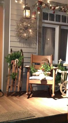 Rustic Christmas Porch -- Love the sleigh.