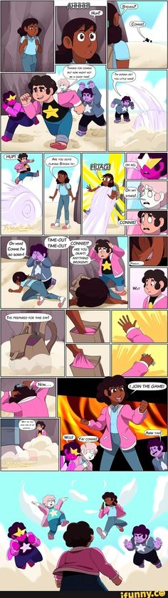 Connie joins the game! by Arteses-Canvas on DeviantArt Steven Universe Ships, Steven Universe Characters, Steven Universe Funny, We Bare Bears Human, Steven Universe Wallpaper, Horror Movie Characters, Cartoon Shows, Jojo's Bizarre Adventure, Funny Comics