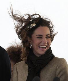 Kate Middleton, during the first official appearance with William after announcing their engagement.