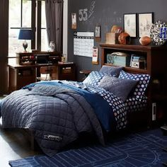 Teen Room, Boys Teen Bedroom Design With Wooden Bed Frame That Integrated Small Storage Area In Head Board Also Equipped With Dark Blue Carp...