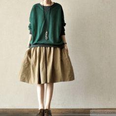 New stylish khaki cotton pleated skirts loose summer mid skirts
