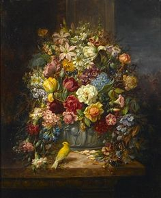 Hans Zatzka - A still life of flowers with a budgerigar and a butterfly on a ledge