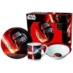 Set desayuno Star Wars Episodio VII Kylo Ren Minions Star Wars, Star Wars Episodio Vii, Regalos Star Wars, Themed Gift Baskets, Star Wars Wedding, Breakfast Set, 3 Piece, Mugs, Stars