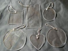 Sampler Set Of Acrylic Blanks Key Chains, Circles, Square, Rectangle, and Heart