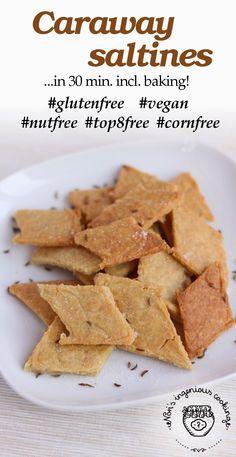 Caraway saltines ready in 30 minutes, baking included! #glutenfree #vegan #top8free #cornfree #healthy #recipe