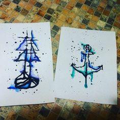 #Ship and #Anchor #Drawing #Abstract #Watercolor