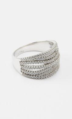 Sterling Silver  Rhinestone Layered Ring