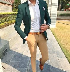 Men Suit's - Stylish Formal Men Work Outfit Ideas To Change Your Green Suit Jacket, Green Blazer Mens, Dark Green Suit Men, Blazer Outfits Men, Casual Outfits, Dress Casual, Casual Suit, Simple Outfits, Traje Casual