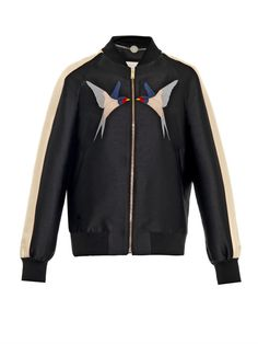 Lorinda satin-mikado bomber jacket - Stella McCartney was inspired by her mother's free-spirited 1970s style this season. This black and beige satin-mikado bomber jacket features a nostalgic swallow applique which subtly nods to the theme. Style it with relaxed colourful separates to keep things contemporary.