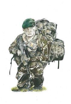 British Army, British Royals, British Commandos, Marine Commandos, Army Police, Royal Marines, Special Ops, Masculine Cards, Watercolours