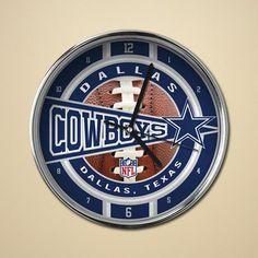 "Dallas Cowboys 12"" Chrome Football Clock"