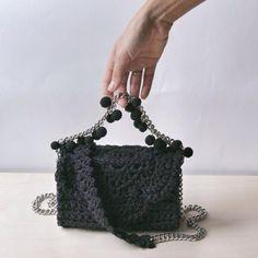 black small bag || crossbody bag || crochet hand bag