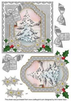 Snow Tree Christmas Greetings Christmas Step by Step toppers as squares and they have up to 5 layers Christmas Topper, 3d Christmas, Christmas Cards To Make, Christmas Images, Xmas Cards, Christmas Greetings, Christmas Sheets, Decoupage Vintage, Decoupage Paper