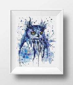 Owl cross stitch pattern Watercolor bird counted cross stitch