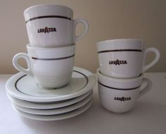 Four Vintage Lavazza Branded Espresso Cups & Saucers White Porcelain Coffee Cafe